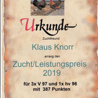 Zucht/Leistungspreis 2019     Klaus Knorr mit 387 P